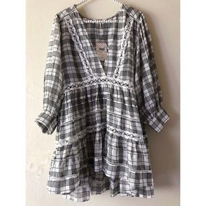 Free People Time Out Plaid Crochet Trim Tunic NEW